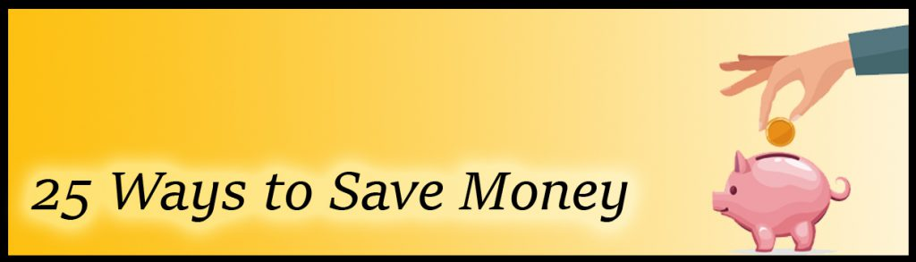 25 ways to save money banner